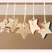 Snowflake Porcelain Ornaments, White And Multi-colored