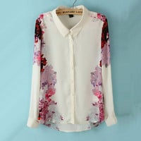 Chiffon Shirt with Rose Printing