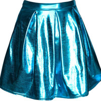 Deena Box Pleat Metallic Skater Skirt