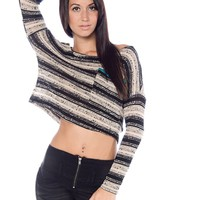 Retro Reverie Knit Crop Top - Black from Bohemian at Lucky 21