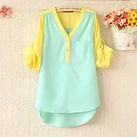 Color matching v-neck shirt long sleeve chiffon unlined upper garment