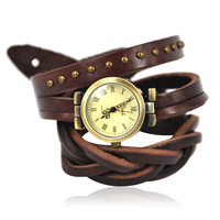 Dark Brown Leather Wrap Around Watch