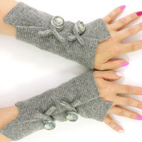 Felted wool fingerless gloves arm warmers recycled wool arm cuffs wrists warmers eco friendly fashion tagt team
