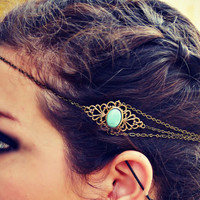 boho head chain, chain headband,turquoise headband, metal headband, unique headband