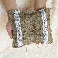 Natural Burlap Ring Bearer Pillow, Cushion with White Cotton Lace