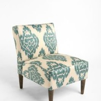 Slipper Chair Ikat- Turquoise
