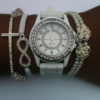 Rhinestone White Stack Set of 4 Arm Candy Bracelets