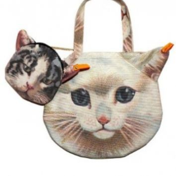 Photo Print 3D Cat Face Cute Kitty Tote Bag Handbag Set