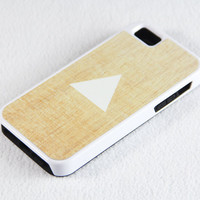 Vintage Wood Triangle Geometric iPhone 5 + 4S + 4 + 5C + 5S Tough Rubber and Soft Case, iPod 5 + 4 Case