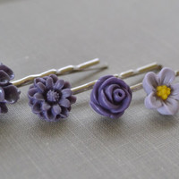 Purple Flower Hair Pins Lavender Flower Bobby Pins by leprintemps