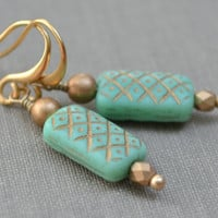 Mint Green Glass and Gold Earrings Matte Jade by leprintemps