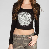 H.I.P. Elephant Womens Crop Tee Black  In Sizes