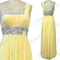 One Shoulder with Crystal Chiffon Yellow Long Prom Dresses, Wedding party Dresses,  Yellow Evening Gown, Long Prom Dresses,Formal Gown