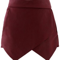 Faux Leather Asymmetric Shorts in Wine Red