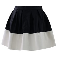 Color Block Faux Leather Skater Skirt