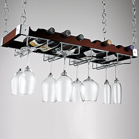 Espresso Bottle and Stemware Ceiling Rack