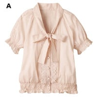 [LUAR] Bowtie & Lace Blouse / 2013 Summer Ladies