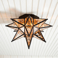 Moravian Star Ceiling Mount Mercury Glass | Ballard Designs