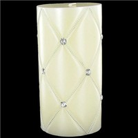 """3"""" x 6"""" Ivory Quilted Metallic Candle with Bling 