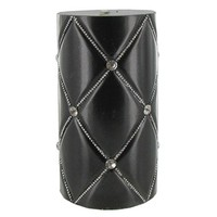 "3"" x 6"" Black Quilted Metallic Candle with Bling 
