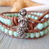 Mint green Mermaid leather wrap bracelet -Malibu Mermaid - rustic blue green, distressed leather, double wrap, boho beach surf chic