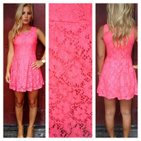 Hot Pink Lace Linz Dress