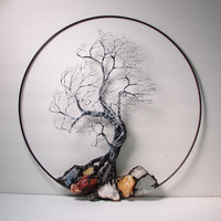 "Wire Tree Of Life Black and White Wind Spirit sculpture with natural Calcites, original Art  14 "" wall hanging decor"