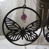 Grey Butterfly Statement Earrings