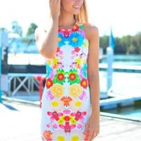 Multi Color Floral Print Bodycon Dress with High Scoop Neck