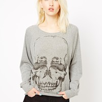 Illustrated People | Illustrated People Mermaid Skull Raglan Sweat Top at ASOS