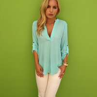 Mint Chiffon 3/4 Sleeve Blouse