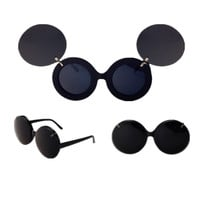 Double Lens Flip- up Vintage Sunglasses