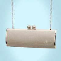 Silver Glitter Envelope Clutch from Menbur $75