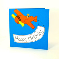 Greeting Card - Aeroplane Greeting Card - Birthday card - Birthday Banner Card  - Plane card