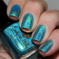 "Nail polish - ""Cool, calm & collected"" light blue linear holographic"