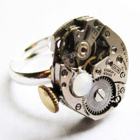 SteamPunk Ring vintage Orvin 17 jewel Watch by InsomniaStudios
