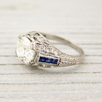 1.64 Carat Old European Cut Diamond and Sapphire Vintage Engagement Ring | Shop | Erstwhile Jewelry Co.