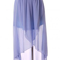 Blue Long Skirt - Asymmetric Waterfall Skirt in Shallow | UsTrendy