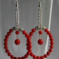 Red Coral Beaded Earrings