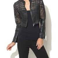 Mesh Cutout Faux Leather Jacket | Shop Arden B. Club at Arden B