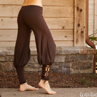 Lace Up Yoga Harem Pant with Cut Out lace up applique