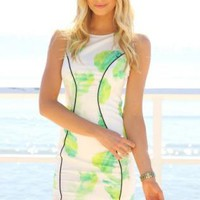 Sleeveless Bodycon Dress with Neon Print & Asymmetric Hem