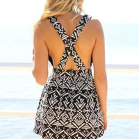Black & White Tribal Print Dress with Criss Cross Back