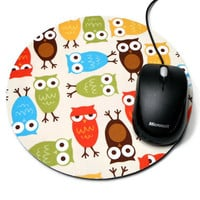 Computer Mouse Pad Fabric Mousepad Owls with by MarciAnnDesigns