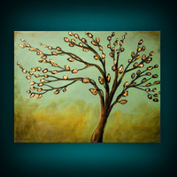 metallic gold palette knife tree painting textured by mattsart
