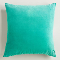 Beryl Green Cotton Velvet Throw Pillows | World Market
