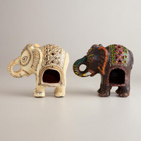 Painted Terracotta Elephant Lanterns, Set of 2 | World Market