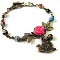 Bronzed Snail Bracelet Jewelry Resin Pink Rose Flower And Cloisonne Beads | Luulla