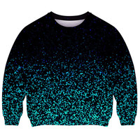 ROMWE | The Gradient Sequins Print Black Sweatshirt, The Latest Street Fashion