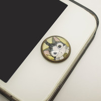 1PC Retro Epoxy Little Lazy Cat Transparent Time Gem Alloy iPhone Home Button Sticker for iPhone 4s,4g, 5, iPad Back to School Gift for Boy